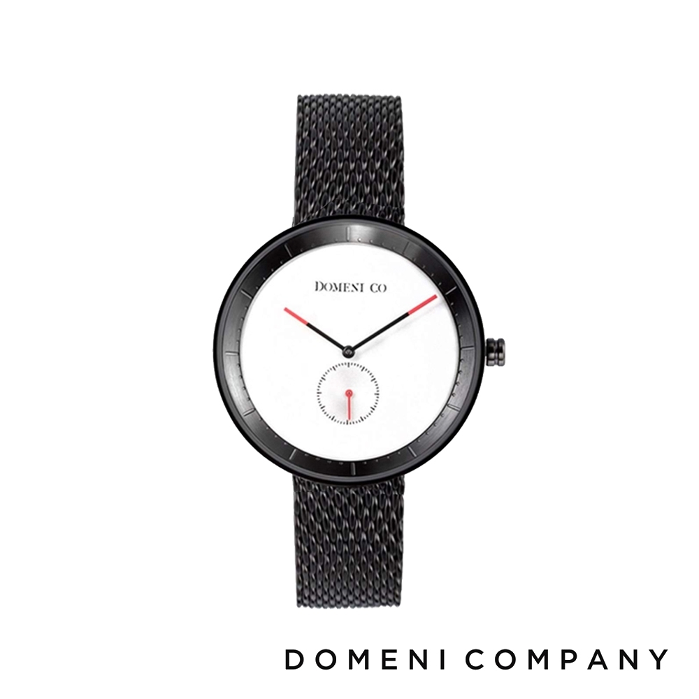 DOMENI COMPANY 經典系列 316L不鏽鋼單眼錶 黑色錶帶 -白/32mm