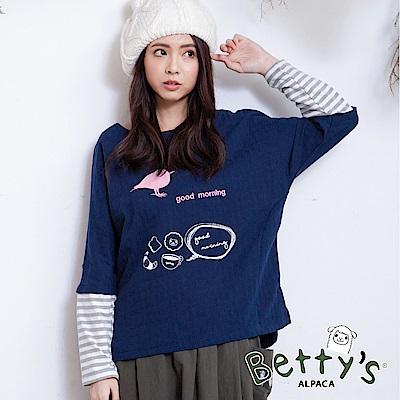 betty's貝蒂思 小鳥刺繡袖口拼接上衣(深藍) @ Y!購物