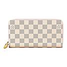 LV N63503 經典棋盤格LOGO DAMIER AZUR帆布拉鍊長夾(米白X粉)