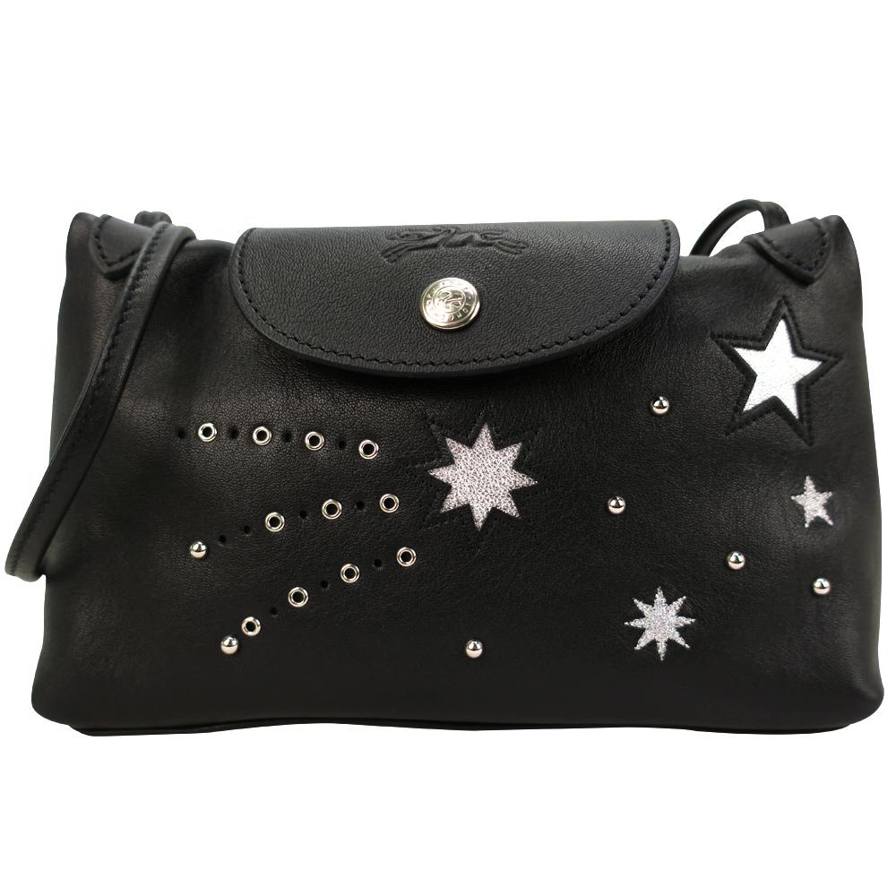 Longchamp Le Pliage Cuir Etoiles 系列星星斜背包-黑