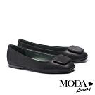 平底鞋 MODA Luxury 簡約內斂方釦全真皮方頭平底鞋-黑
