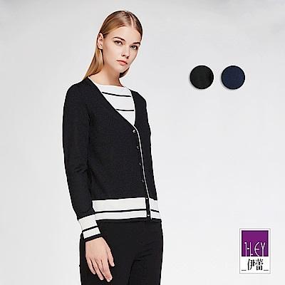 ILEY伊蕾 簡約配條V領針織外套(黑/藍)