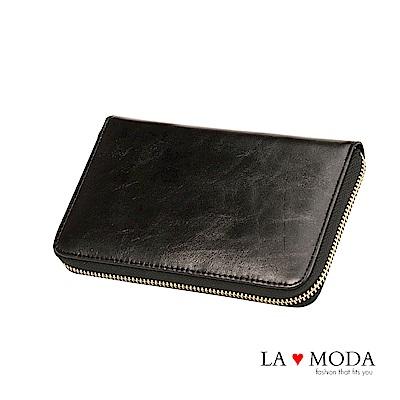 La Moda 出國旅行超安心 防盜刷防RFID偵測真皮牛皮大容量手機包護照夾長夾(黑)