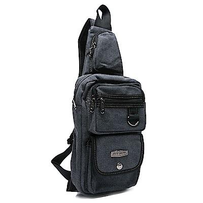 DF BAGSCHOOL -韓版運動休閒帆布單肩包-黑色