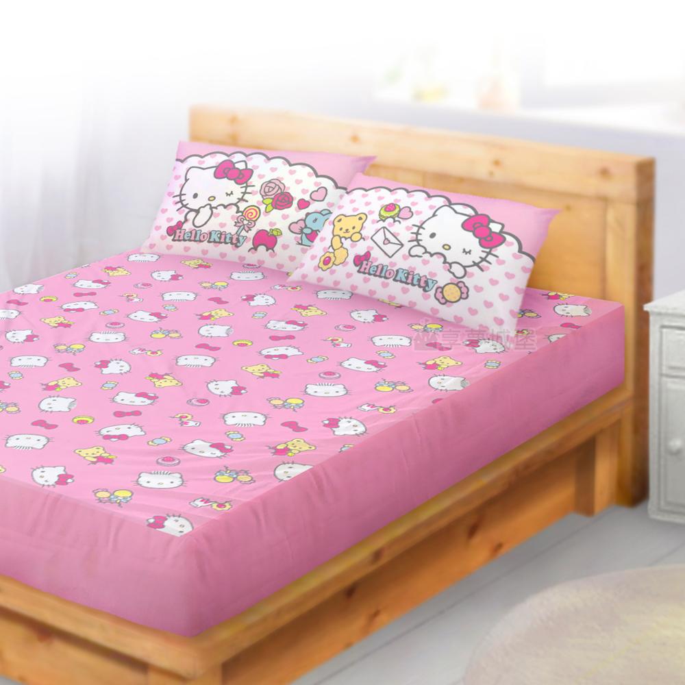 HELLO KITTY 我的最愛系列-雙人純棉三件式床包組