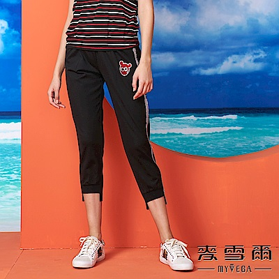 【麥雪爾】棉質水鑽側滾邊休閒長褲