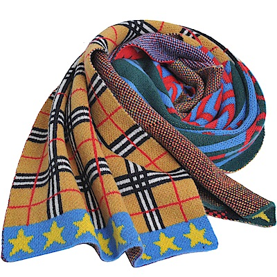 BURBERRY 拼接圖騰格紋輕盈格紋100%喀什米爾羊毛圍巾(152x30)