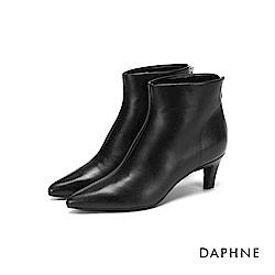 達芙妮DAPHNE 短靴-素色拼接拉鍊高跟短靴-黑