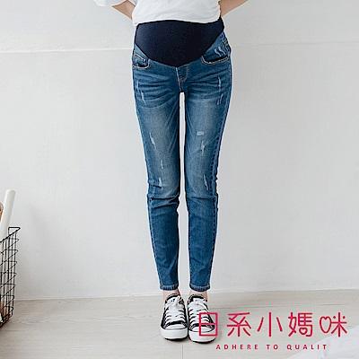 日系小媽咪孕婦裝-孕婦褲~質感微刷破蕾絲口袋牛仔褲 可調式瑜珈腰圍 S-XXL