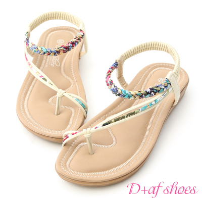 D+AF 花漾魅力.麻辮花布斜帶平底涼鞋*米