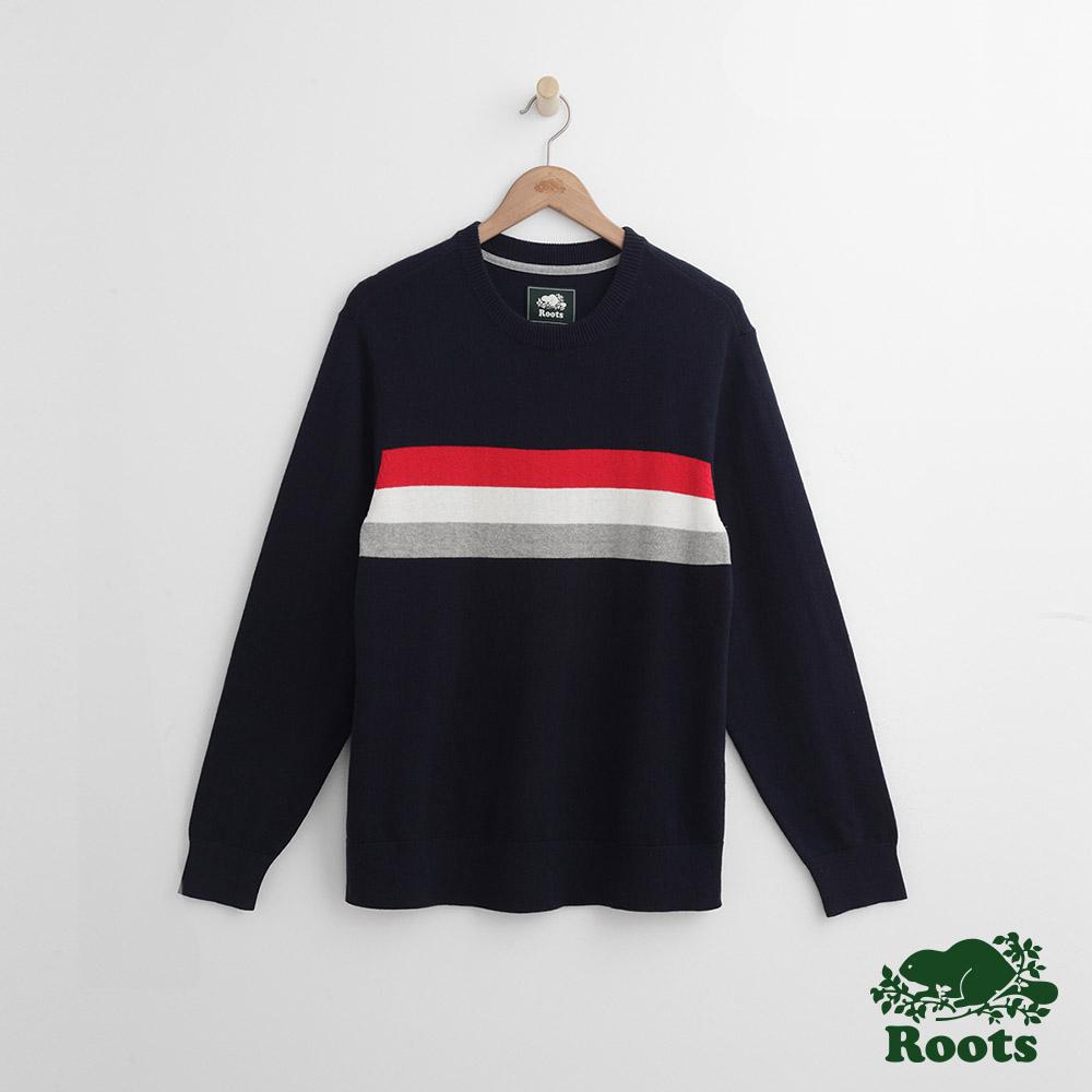 Roots 男裝- 前胸條紋毛衣-藍