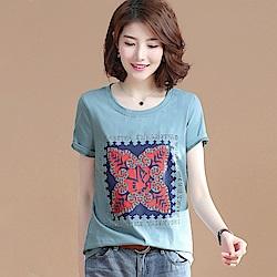 初色  復古民族風印花T恤-藍色-(M-2XL可選)