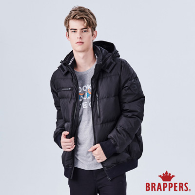 BRAPPERS 男款 可拆帽多口袋羽絨外套-黑