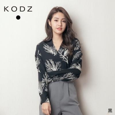東京著衣-KODZ 時髦歐逆前後雙V領碎花開襟襯衫上衣