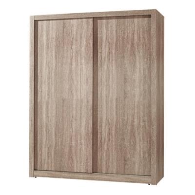 文創集 希爾 淺橡木紋5尺推門衣櫃/收納櫃(吊衣桿+單抽屜)-150x60x197cm免組