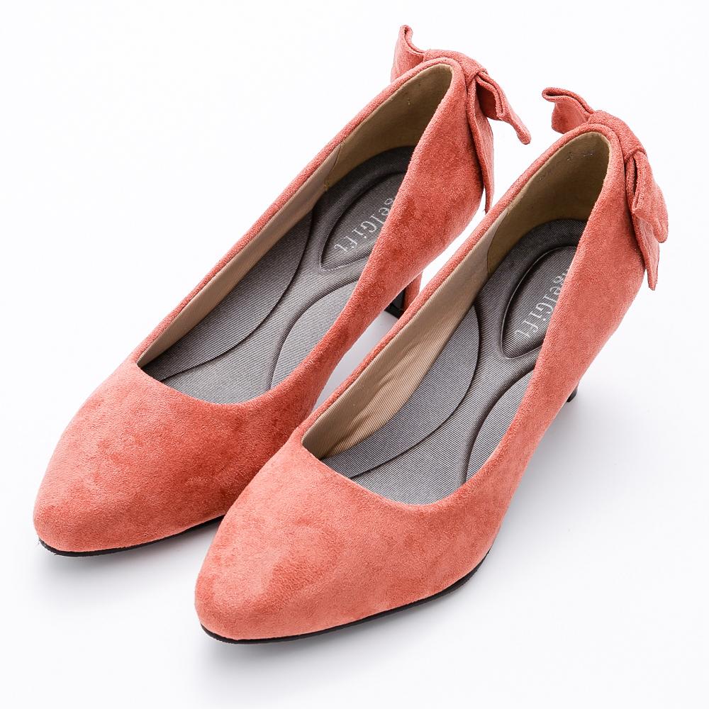 River&Moon甜美後蝴蝶結麂絨記憶鞋墊尖頭跟鞋-橘