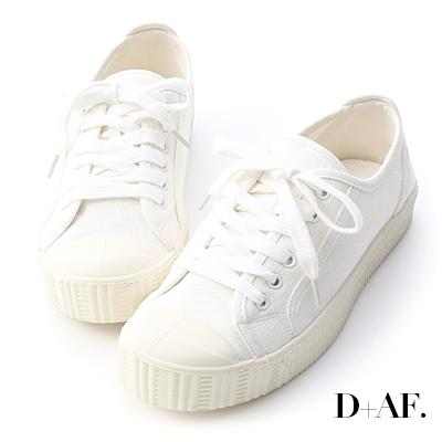 D+AF 潮流風格.圓頭拼色帆布休閒鞋*白