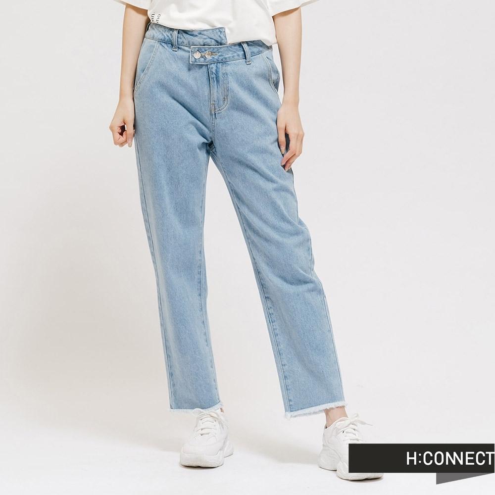 H:CONNECT 韓國品牌 女裝 - 不規則造型牛仔直筒褲 - 藍