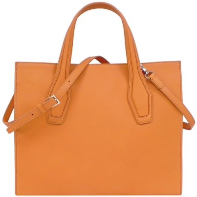 TODS 橙黃色小牛皮手提/斜背兩用包-大型