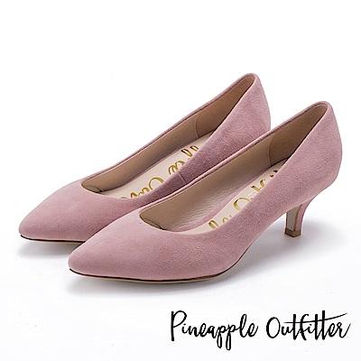 Pineapple Outfitter 簡約風尚 素面尖頭中跟鞋-絨粉