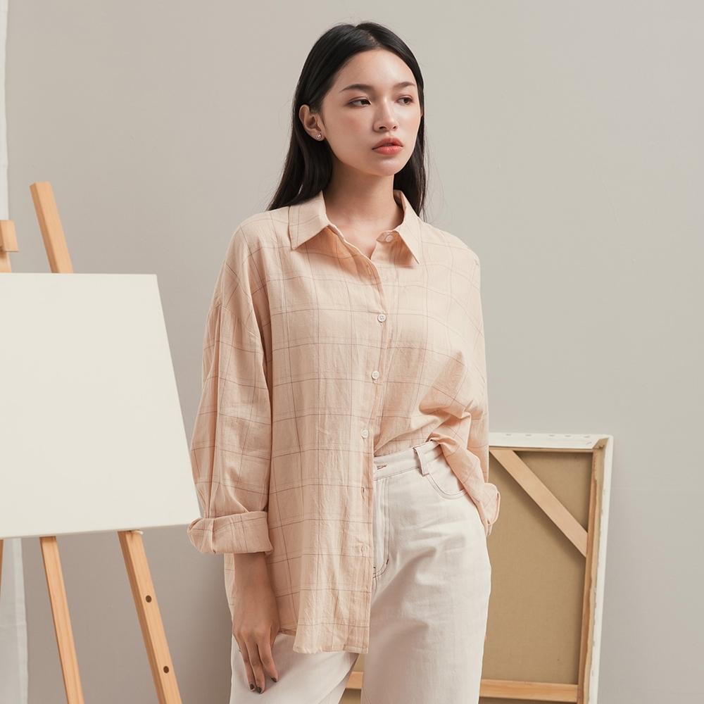 Shester55-水洗棉感格紋襯衫(二色)-女【XSH142】