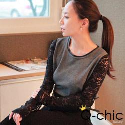 正韓 優雅蕾絲拼接袖針織上衣 (黑色)-Q-chic