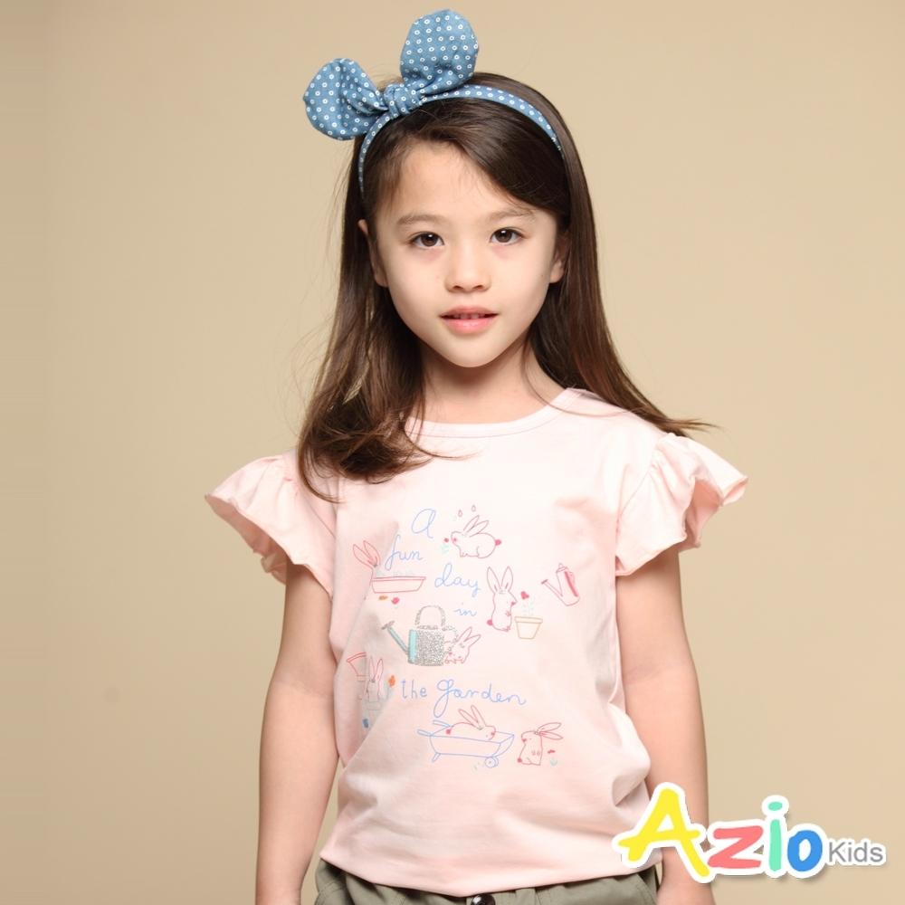 Azio Kids 女童 上衣 手繪兔子印花荷葉邊短袖上衣(粉)