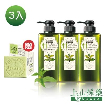 tsaio上山採藥 茶樹美背沐浴乳 600ml(3入組) (贈果油皂X1)