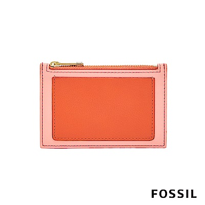 FOSSIL Shelby 真皮系列拉鍊卡片夾-雙色粉橘