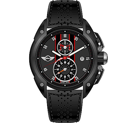 MINI Swiss Watches跑旅時尚計時腕錶(MINI-16)-黑/45mm