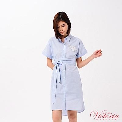Victoria 落肩長版洋裝式短袖襯衫(附腰帶)-女-藍色