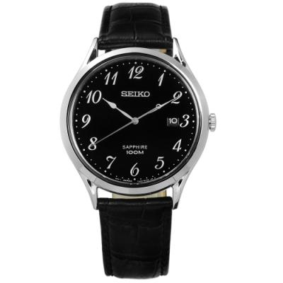SEIKO 精工 簡約 藍寶石水晶 防水 真皮手錶-黑色/40mm