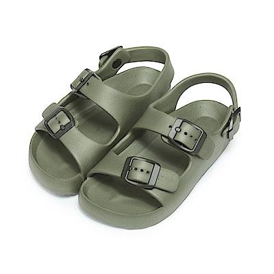 BuyGlasses 輕量雙帶防水兒童涼鞋-軍綠