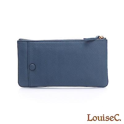 LouiseC.清新自然大外袋牛皮拉鍊長夾(活動卡夾)-藍色HGSB710528-09