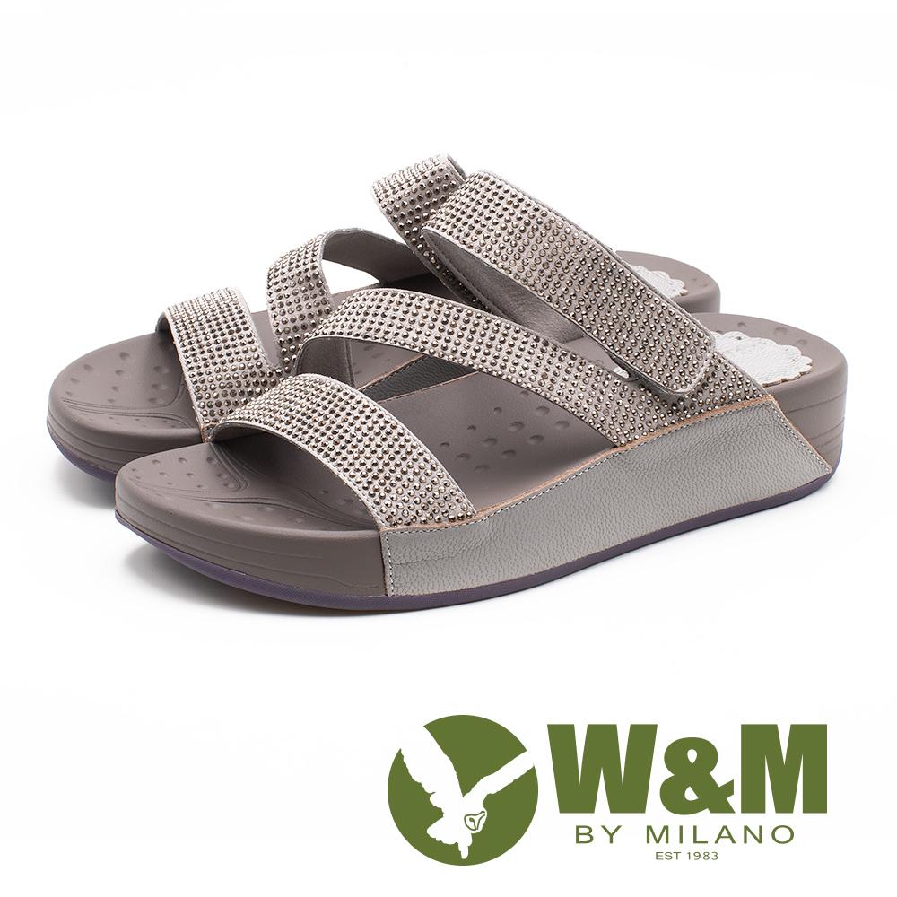W&M Z型燙鑽厚底拖鞋 女鞋 - 灰(另有寶藍色)