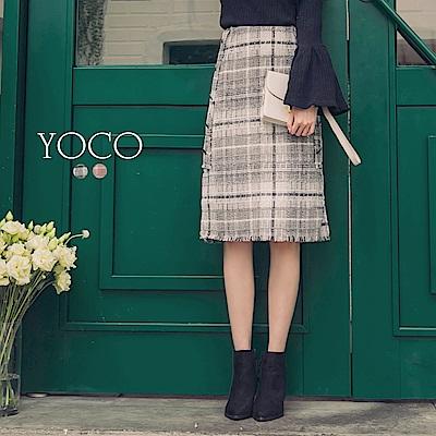 東京著衣-yoco 法式優雅配色格紋排釦開衩中長裙-S.M.L(共二色)