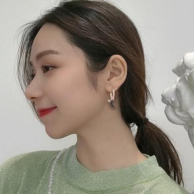 梨花HaNA 韓國925銀溫柔月光黑色神話耳環