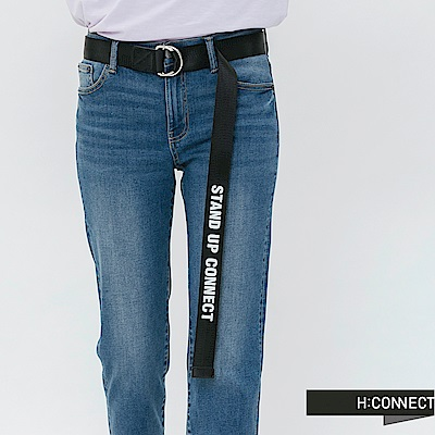 H:CONNECT 韓國品牌 -質感logo扣環腰帶-黑