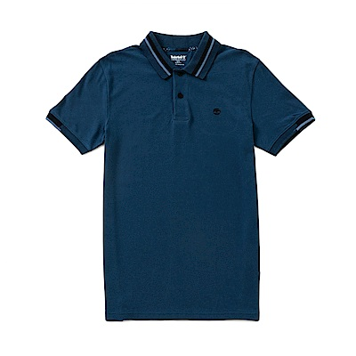 Timberland 男款深丹寧色條紋袖口POLO衫 | A1NEW288