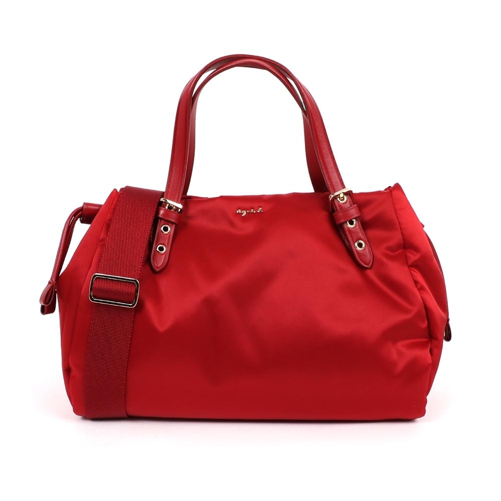 agnes b. Voyage 小型緞面尼龍抽繩兩用包 (紅)