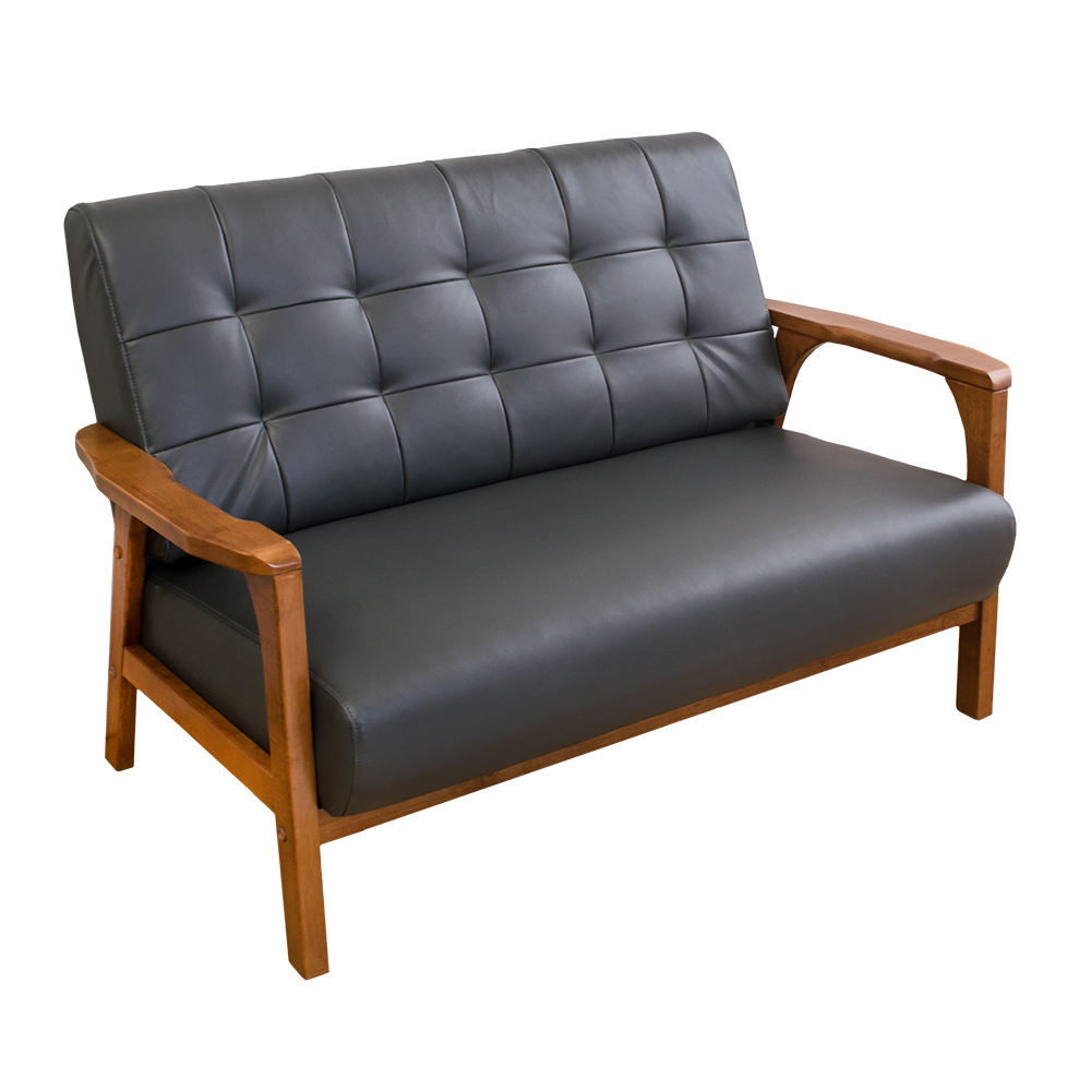 Boden-森克實木皮沙發雙人椅/二人座(柚木色)(兩色可選)