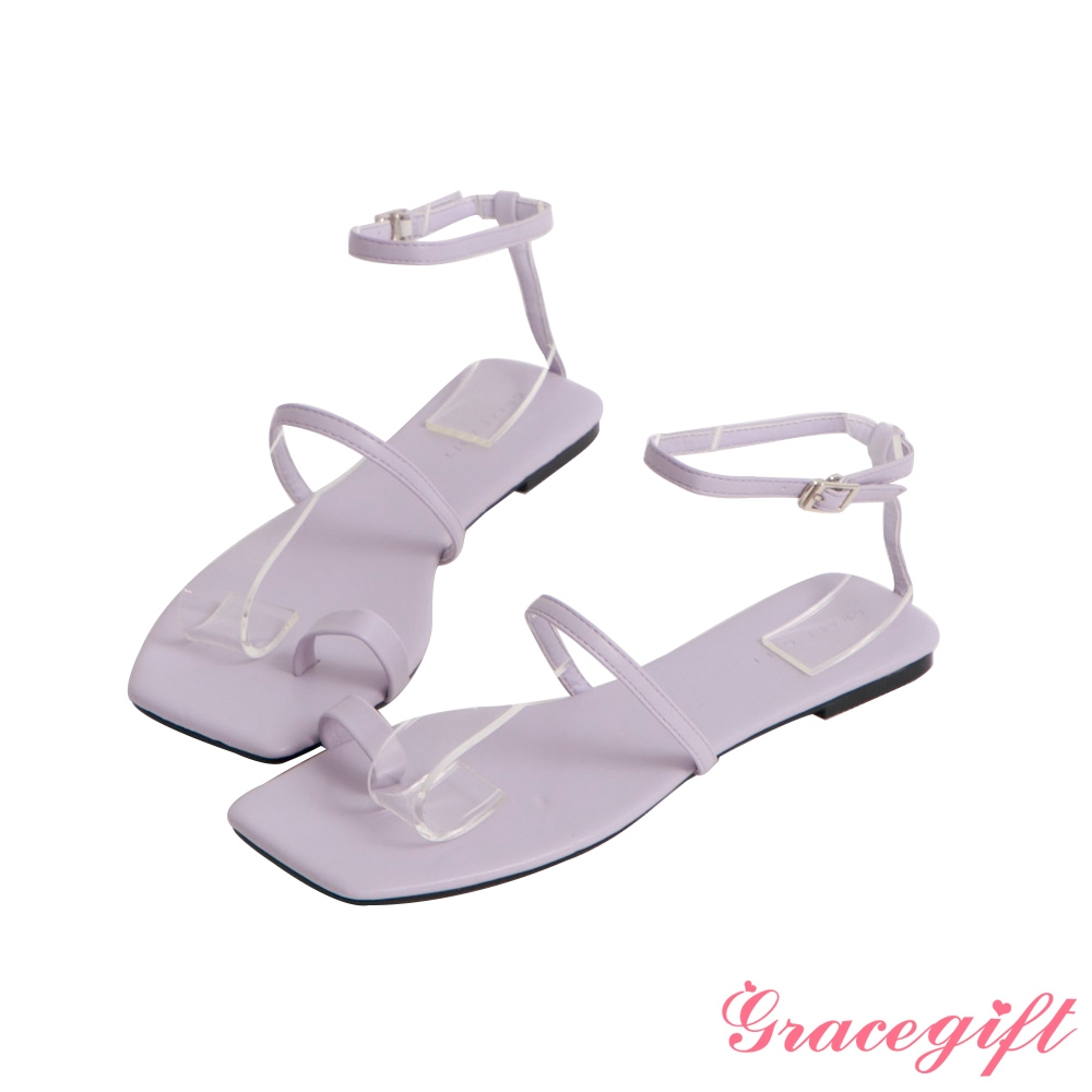 Grace gift-一字帶套趾繞踝平底涼鞋 淺紫