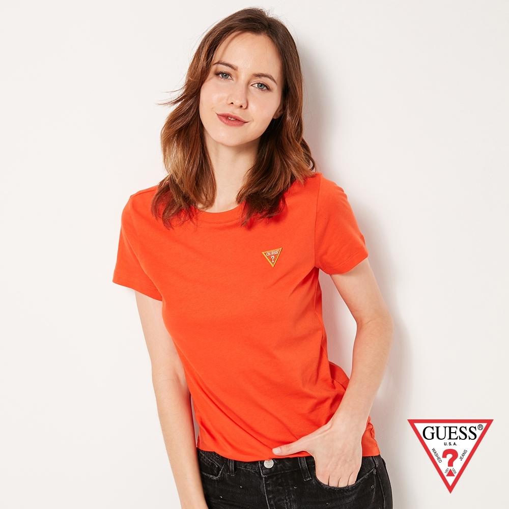 GUESS-女裝-刺繡小LOGO短T,T恤-橘 原價1290