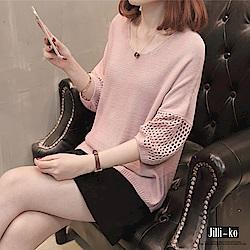 Jilli-ko 半袖鏤空寬鬆針織衫-粉