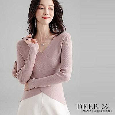 DEER-W-交叉V領坑條混織上衣-粉