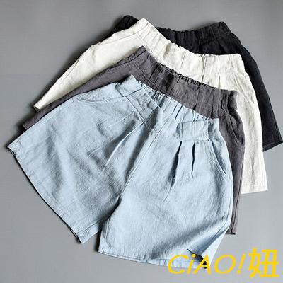 自然系純色棉麻口袋短褲 (共五色)-CIAO妞