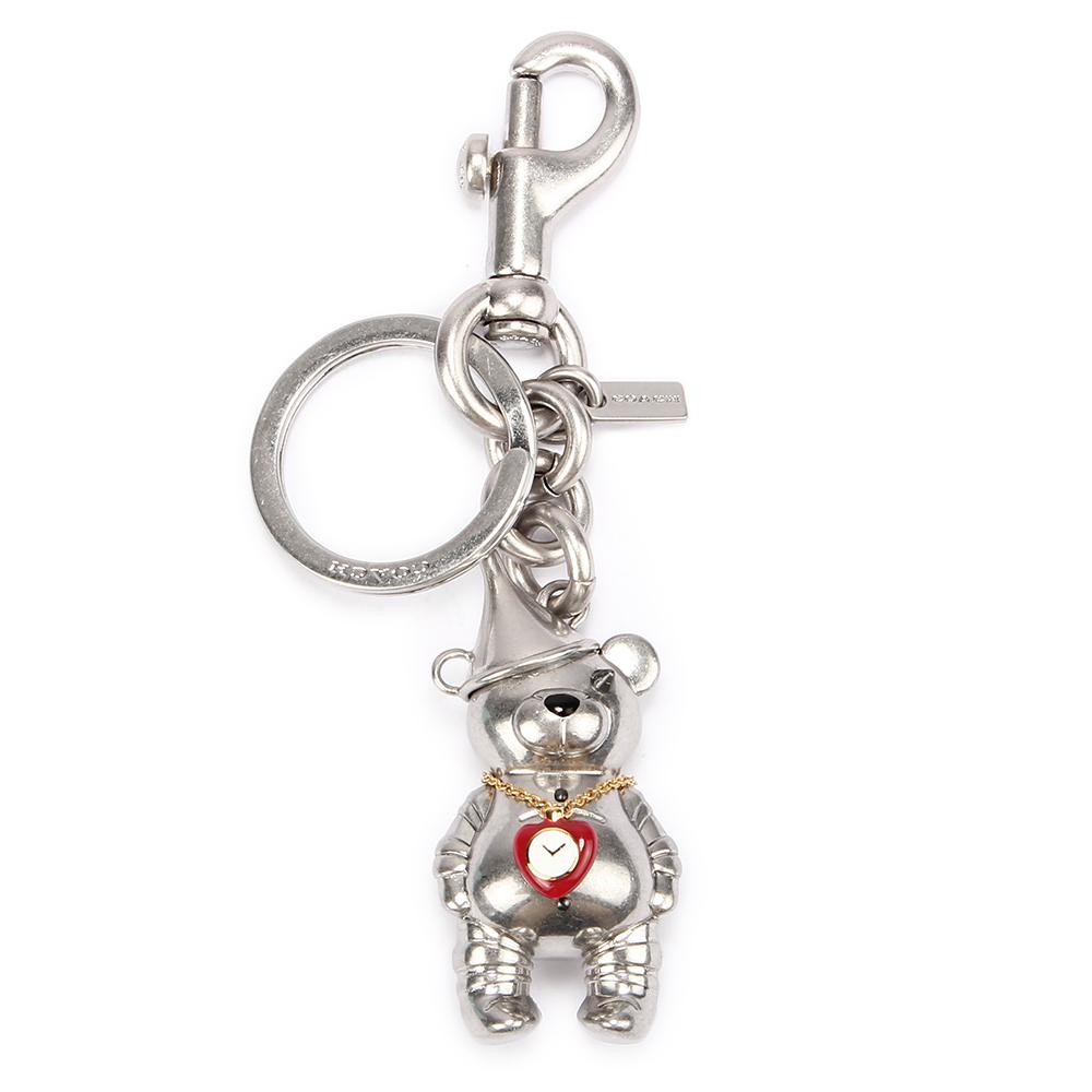 COACH 可愛3D立體 TIN MAN BEAR 熊熊金屬鑰匙圈-銀色COACH