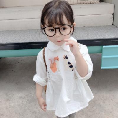小衣衫童裝 女童卡通貓咪小鏤空襯衫娃娃裝1090303