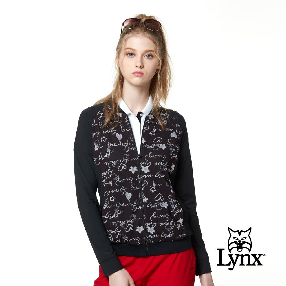 【Lynx Golf】Korea 女款滿版英文草寫印花透氣網布長袖外套-黑色