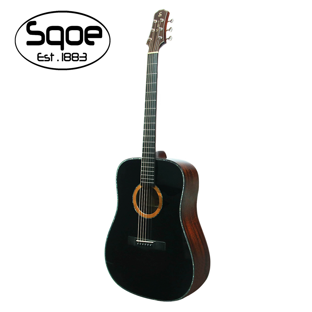 SQOE A810 BK 面單雲杉民謠木吉他 極致黑
